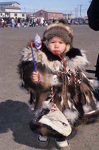 Alaska, People, Child Inuit in native dress. Barrow, Alaska. 4th of July celebration.