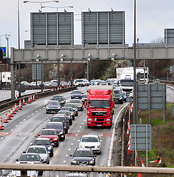 © Licensed to London News Pictures. 28/03/2016<br /> Traffic on the M25 Anti-clock wise towards Dartford crossing.<br /> Queen Elizabeth II Bridge at Dartford River Crossing in Kent is closed because of high winds from storm Katie.<br /> Winds up to 80 mph have battered the UK over night.<br /> <br />  (Byline:Grant Falvey/LNP)