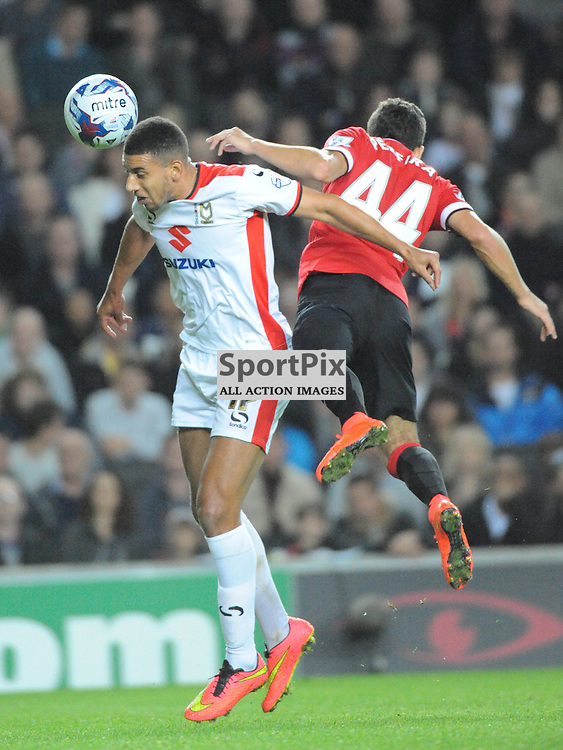 MK Dons Daniel Powell, Holds Utd Andreas Pereira, Mk Dons v Manchester United, Capital One Cup,  Milton Keynes, MK Stadium, Tuesday 26th August 2014