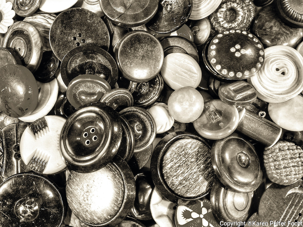 Buttons, black and white. <br /> <br /> <br /> ALL RIGHTS RESERVED NOT FOR USE WITHOUT PERMISSION OF PHOTOGRAPHER KAREN PULFER FOCHT