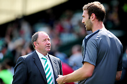 Yeovil Town's Manger Gary Johnson catches up with Doncaster Rovers' Jamie McCombe before the game who both know each other from previous spells at Bristol City  - Photo mandatory by-line: Dougie Allward/Josephmeredith.com  - Tel: Mobile:07966 386802 01/09/2012 - SPORT - FOOTBALL - League 1 -  Yeovil  - Huish Park -  Yeovil Town v Doncaster Rovers
