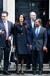 © Licensed to London News Pictures. 23/01/2016. London, UK. Amal Clooney and her client deposed former president of the Maldives Mohamed Nasheed (R) leaving Downing Street after a meeting with David Cameron on Saturday, 23 January 2016. Photo credit: Tolga Akmen/LNP
