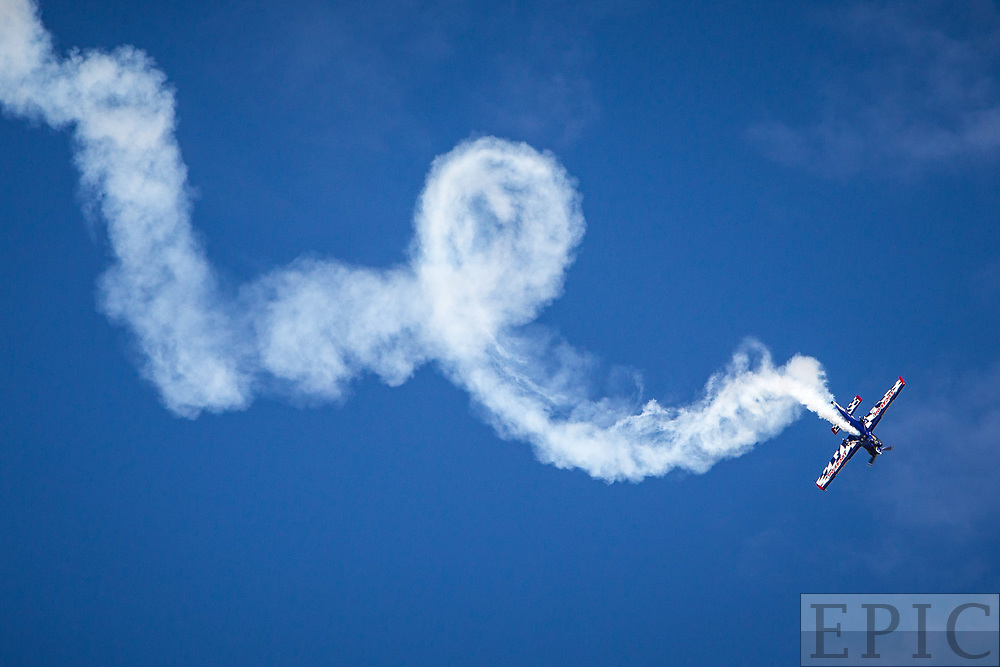 RENO, NV - SEPTEMBER 14: Air acrobatics performer Brad Wursten leaves a trail of loops during the Reno Championship Air Races on September 14, 2017 in Reno, Nevada. (Photo by Jonathan Devich/Getty Images) *** Local Caption *** Brad Wursten