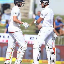 Durban South Africa - December 28,  Joe Root withNick Compton of England during the match between South Africa  and England day 3 of the 1st test , 28 December 2015. (Photo by Steve Haag) images for social media must have consent from Steve Haag