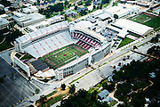 Aerial photographs of Donald W. Reynolds Razorback Stadium and Frank Broyles Field in Fayetteville Arkansas on the campus of the University of Arkansas<br /> <br /> <br /> Photo by Wesley Hitt 2015