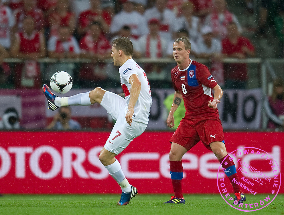 (L) Poland's Eugen Polanski (nr07) fights for the ball with (R) Czech's David Limbersky (nr08) during the UEFA EURO 2012 Group A football match between Poland and Czech Republic at Municipal Stadium in Wroclaw on June 16, 2012...Poland, Wroclaw, June 16, 2012..Picture also available in RAW (NEF) or TIFF format on special request...For editorial use only. Any commercial or promotional use requires permission...Photo by © Adam Nurkiewicz / Mediasport