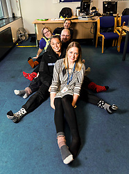 Pictured: Front to back: DC Kerry Kinroy, SGT Rebekah Czajkowski, SGT Colin Clarkson,  PCSO Marie Williams, SGT Colin Clarkson and Insp Andy Morrice <br /> Police officers at Boston Police Station were on their toes to support the Odd-Socks anti-bullying campaign.  The Bobby-soxers need to protect those feet as winter heads their way.<br /> <br /> <br /> James Sullivan| EEm 12 November 2018
