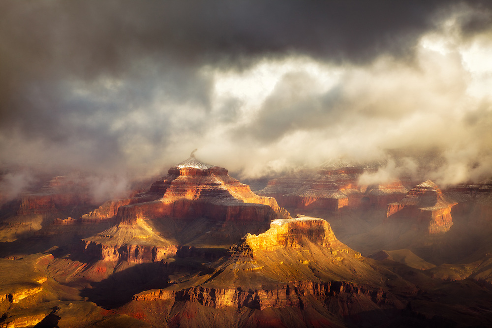 A late winter storm clears from Isis Temple in the Grand Canyon. Captured from Mather Point on the canyon's South Rim.