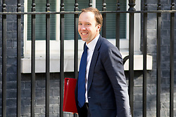 © Licensed to London News Pictures. 01/05/2018. London, UK. Secretary of State for Digital, Culture, Media and Sport Matt Hancock arriving in Downing Street to attend a Cabinet meeting this morning. Cabinet positions have recently shuffled around, following Amber Rudd's resignation as Home Secretary, following the Windrush scandal. Photo credit : Tom Nicholson/LNP