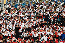 The Texas Tech marching band plays in the stands during the Gator Bowl.  The Texas Tech Red Raiders defeated the Virginia Cavaliers 31-28 in the 2008 Konica Menolta Gator Bowl held at the Jacksonville Municipal Stadium in Jacksonville, FL on January 1, 2008.