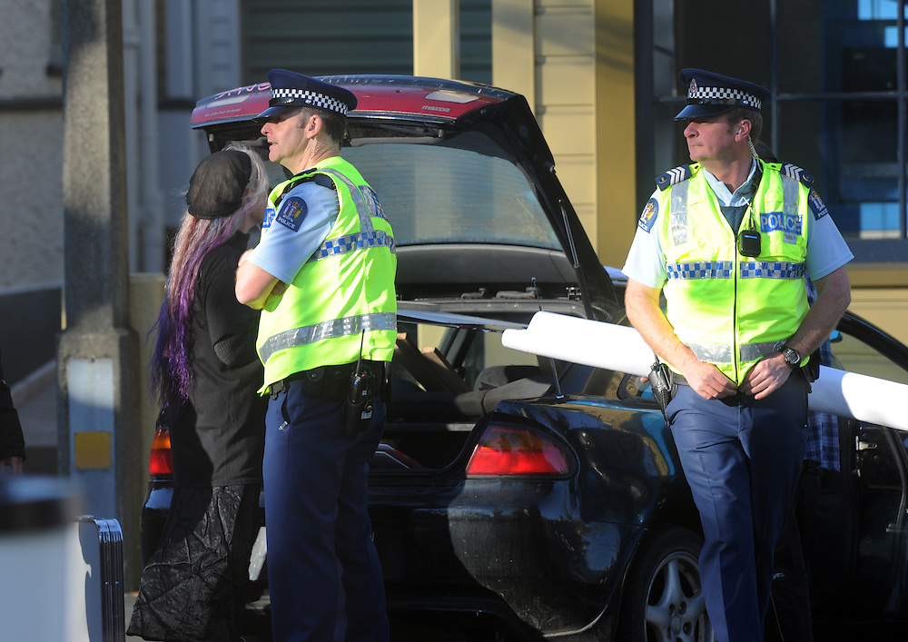 A small number of police patrol at the National Party's conference, Nelson, New Zealand, Saturday, August 10, 2013. Credit:SNPA / Ross Setford