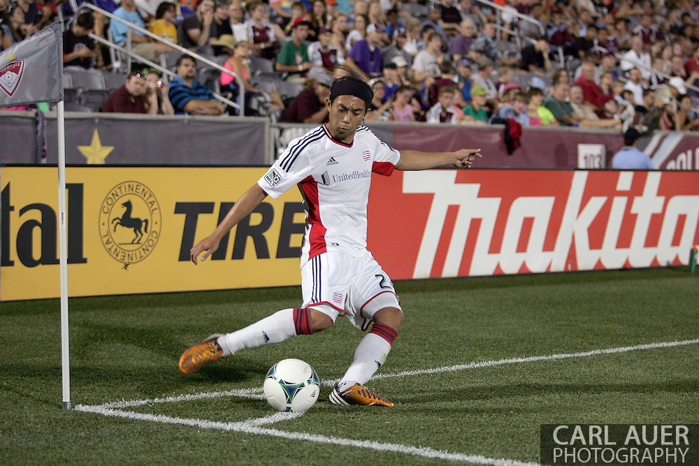 July 17th, 2013 - New England Revolution midfielder Lee Nguyen (24) attempts a corner kick in the second half of action in the Major League Soccer match between the New England Revolution and the Colorado Rapids at Dick's Sporting Goods Park in Commerce City, CO