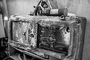 A radio is seen at Masatada Nishibori's camp site at 26th and Wood streets on Wednesday, May 24, 2017, in Oakland, Calif.