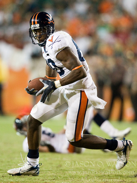 Virginia wide receiver Maurice Covington (80)..The #19 Virginia Cavaliers defeated the Miami Hurricanes 48-0 at the Orange Bowl in Miami, Florida on November 10, 2007.  The game was the final game played in the Orange Bowl.