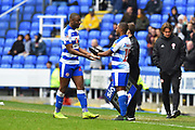 Substitution - Yakou Meite (21) of Reading is replaced by Callum Harriott (15) of Reading during the EFL Sky Bet Championship match between Reading and Brentford at the Madejski Stadium, Reading, England on 13 April 2019.