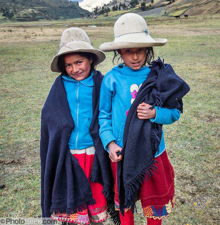 Campesino children at Camp 4 at 3700 meters elevation in Jancapampa Valley, in the Cordillera Blanca, Andes Mountains, Peru, South America. Day 4 of 10 days trekking around Alpamayo in Huascaran National Park.