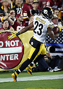 Pittsburgh Steelers free safety Mike Mitchell (23) runs through the end zone after an apparent fumble recovery later ruled an incomplete pass in the fourth quarter during the 2016 NFL week 1 regular season football game against the Washington Redskins on Monday, Sept. 12, 2016 in Landover, Md. The Steelers won the game 38-16. (©Paul Anthony Spinelli)