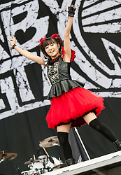 © Licensed to London News Pictures. 29/08/2015. Reading Festival, UK.  Babymetal performing at Reading Festival 2015, Day 2.  Yuimetal.  Photo credit: Richard Isaac/LNP