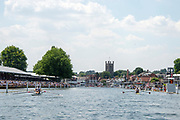 "Henley on Thames, United Kingdom, 3rd July 2018, Sunday,  ""Henley Royal Regatta"", The Diamond Challenge Sculls, Finalists, (Left) Mahe DRYSDALE NZL M1X,  (Right) Kjetil BORCH NOR M1X,passing the Grandstands,    View, Henley Reach, River Thames, Thames Valley, England, UK."