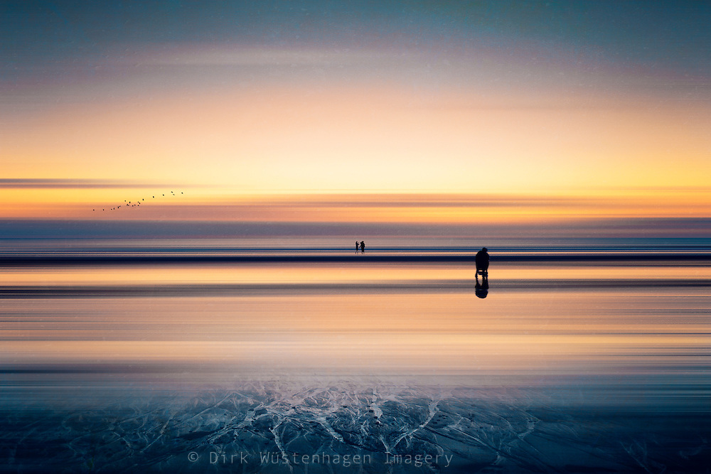 moody sunset at Contis-Plage, France - abstraction of a photo<br /> <br /> Prints &amp; more: http://society6.com/DirkWuestenhagenImagery/before-night-fall_Print