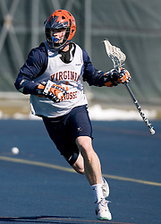 Virginia Cavaliers M Foster Gilbert (1) in action against Georgetown.  The #1 ranked Virginia Cavaliers Men's Lacrosse team scrimmaged the #6 Georgetown Hoyas at the University of Virginia's Turf Field in Charlottesville, VA on February 10, 2007.