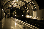 A picture of a London Underground Train, pulling into Marylebone station, which is on the Bakerloo line.