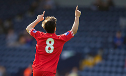 WEST BROMWICH, ENGLAND - Sunday, October 20, 2013: Liverpool's Joao Carlos Teixeira celebrates scoring the first goal against West Bromwich Albion during the Under 21 FA Premier League match at the Hawthorns. (Pic by David Rawcliffe/Propaganda)