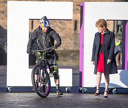 Stunt bike rider and Skye's very own spirit of Scotland Danny MacAskill and First Minister Nicola Sturgeon, on Edinburgh Castle esplanade. VisitScotland has brought the spirit of Scotland to life with its biggest ever global campaign and social movement, with the #ScotSpirit activity forming the main focus and VisitScotland's bid to build the #ScotSpirit movement.