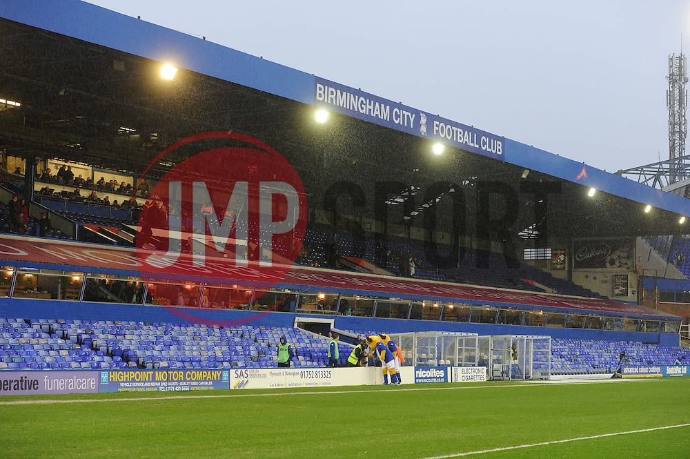 not many home fans turned out for the clash the stand behind the dugouts was empty.  - Photo mandatory by-line: Alex James/JMP - Tel: Mobile: 07966 386802 25/01/2014 - SPORT - FOOTBALL - St Andrew's - Birmingham - Birmingham City v Swansea City - FA Cup - Forth Round