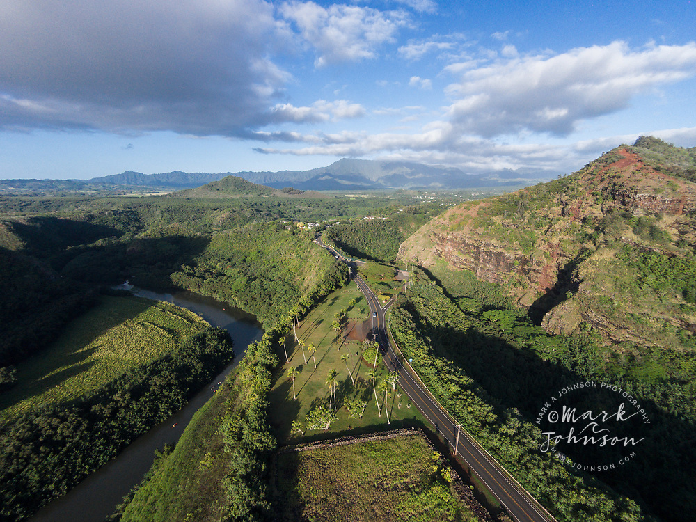 Aerial photograph of the Poliahu Heiau above the Wailua River, Kauai, Hawaii