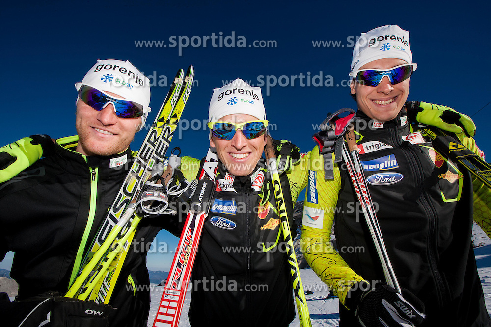 Domen Potocnik, Matija Rimahazi and Rok Trsan during Training camp of Slovenian Cross country Ski team on October 23, 2012 in Dachstein Getscher, Austria. (Photo By Vid Ponikvar / Sportida)