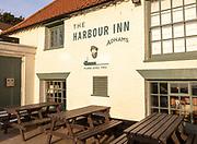 1953 Flood level mark on wall outside, the Harbour Inn Adnams pub, Southwold, Suffolk, England, UK