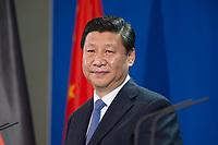 28 MAR 2014, BERLIN/GERMANY:<br /> Xi Jinping, Staatspraesident der Volksrepublik China, waehrend einer Pressekonferenz, Bundeskanzleramt<br /> IMAGE: 20140328-01-038