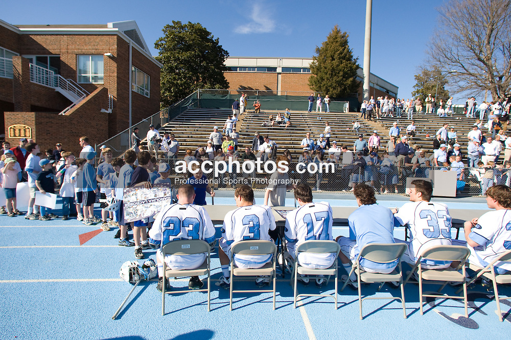 02 March 2008: North Carolina Tar Heels sign autographs for fans after a 13-8 win over the Cornell Big Red on Fetzer Field in Chapel Hill, NC.
