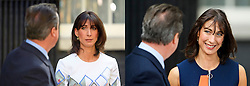 © Licensed to London News Pictures. 13/07/2016. London, Coparison picture showing SAMANTHA CAMERON looking at DAVID CAERON during his resignation speech on June, 24, 2016 (LEFT) and during his departure speech today July 13, 2016 (RIGHT)  Photo credit: Ben Cawthra/LNP
