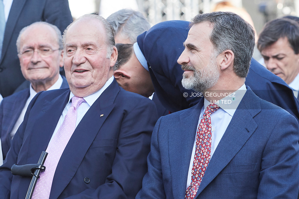 King Felipe VI of Spain, King Juan Carlos of Spain attended the Presentation of the COTEC Report at Vicente Calderon Stadium on June 12, 2017 in Madrid