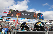 Dec 16, 2018; Jacksonville, FL, USA; Helmets are displayed with the American flag during an NFL game at TIAA Bank Field between the Jacksonville Jaguars and the Washington Redskins. The Redskins beat the Jaguars 16-13. (Steve Jacobson/Image of Sport)