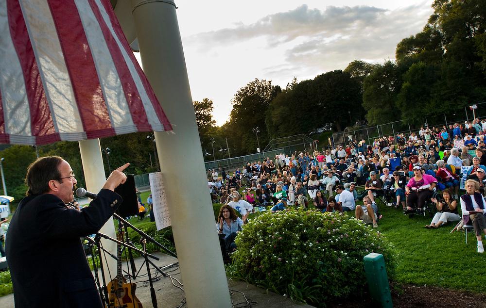 Congressman Eliott Engle, rallying for the healthcare reform in Nyack, New York..Photographer: Chris Maluszynski /MOMENT