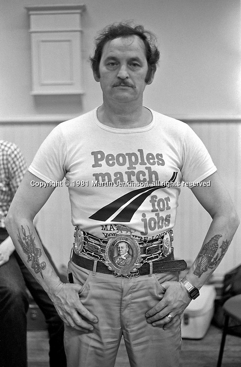 Marcher wearing the Lonsdale belt won by boxer Pat Thomas, People's March for Jobs Kettering 20/05/1981