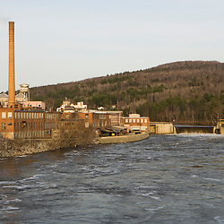 The Gilman Dam on the Connecticut River in Gilman, Vermont and Cushman, New Hampshire.  Dirigo Paper Company mill.