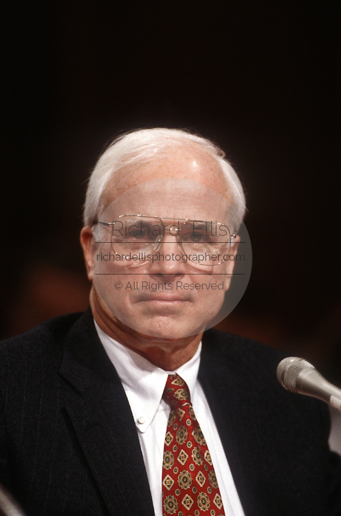Senator John McCain during Senate Intelligence Committee hearing on Anthony Lake's nomination as Director of the CIA March 11, 1997.
