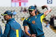 Mitchell Starc of Australia warming up ahead of the ICC Cricket World Cup 2019 semi final match between Australia and England at Edgbaston, Birmingham, United Kingdom on 11 July 2019.