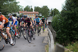 Cecilie Uttrup Ludwig (DEN) of Cervélo-Bigla Cycling Team crosses the bridge in the second short loop at the end of the Crescent Vargarda - a 152 km road race, starting and finishing in Vargarda on August 13, 2017, in Vastra Gotaland, Sweden. (Photo by Balint Hamvas/Velofocus.com)
