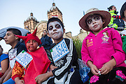 Young children dressed in costumes during the Day of the Dead Festival known in spanish as Día de Muertos on October 25, 2014 in Oaxaca, Mexico.