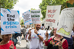 London, UK. 30 May, 2019. Campaigners from SEND National Crisis attend a demonstration outside Downing Street to demand improvements in the diagnosis and assessment of young people with SEND, assistance for their families, funding and legal and financial accountability for local authorities in their treatment of young people with SEND and their families. A petition was also presented at 10 Downing Street.