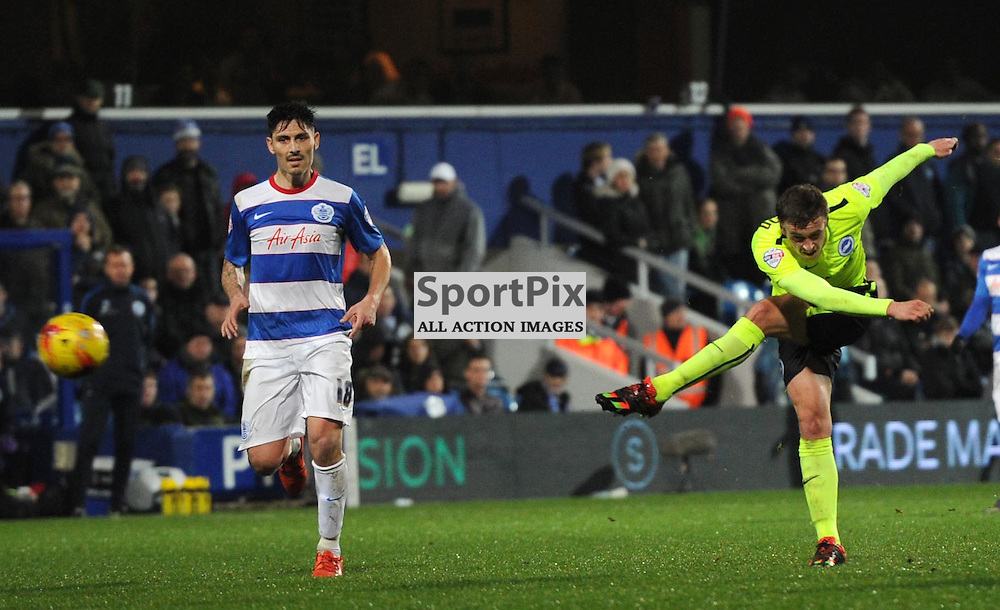 Brightons James Wilson gest a shot away during the Queens Park Rangers v Brighton & Hove Albion game in the  Sky Bet Championship on Tuesday 15th Decemeber 2015 at Loftus Road.
