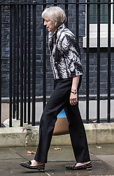 © Licensed to London News Pictures. 15/09/2015. London, UK. The Home Secretary Theresa May, arriving at Number 10 Downing Street.  Photo credit : James Gourley/LNP