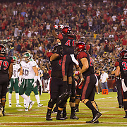 22 September 2018: San Diego State Aztecs wide receiver BJ Busbee (41) celebrates with teammates after catching a 24 yard pass for a touchdown in the second quarter giving the Aztecs a 17-3 lead. The San Diego State Aztecs beat the Eastern Michigan Eagles 23-20 in over time at SDCCU Stadium in San Diego, California.