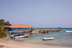 Pier, beach and boats, Franklyn D Resort, Runaway Bay, St. Ann, Jamaica