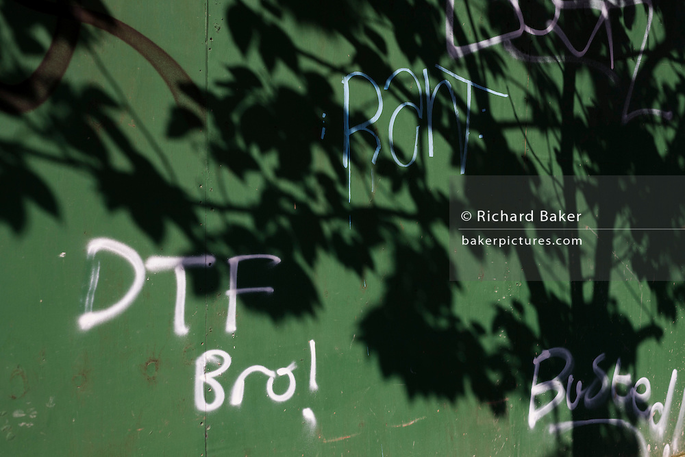 Shadows of nearby tree on a construction site hoarding tagged with youth graffiti in south London.